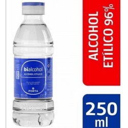 202 Alcohol Etlico 96° 15 x 250 ml Marca Bialcohol de Porta